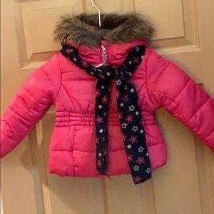 NWT girls puffer coat w star scarf